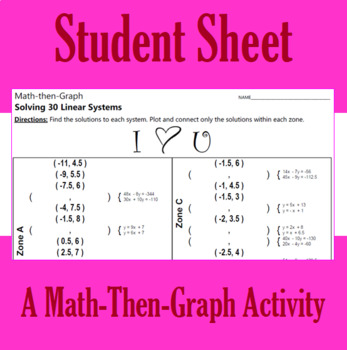 Valentine's Day - I Heart U - A Math-Then-Graph Activity - Solve 30 Systems
