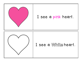 Valentine's Day - I see Color Words - Pocket Chart Printable