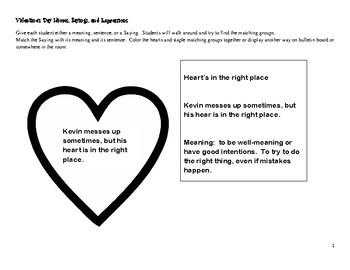 Valentine's Day Idiom, Sayings, and Expressions Activity