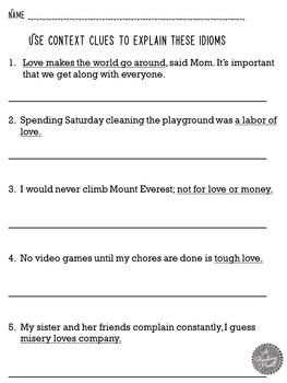Valentine's Day Idioms Figurative Language