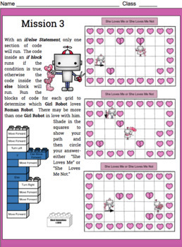 Valentine's Day If & If/Else Programming Problems