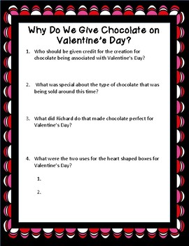 Valentine's Day Informational Reading Passage: Why Do We Give Chocolate?