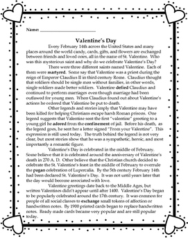 Valentine's Day Informational Text Passage