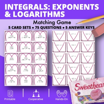 Valentine's Day: Integrals Exponents and Logs Matching Game