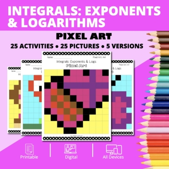 Valentine's Day: Integrals Exponents and Logs Pixel Art Mystery Pictures