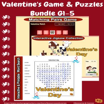 Valentine's Day Interactive Game & Puzzles Bundle Grade 1-5