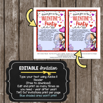 Valentine's Day Invitation - EDITABLE - Valentine - Valentines Class Party Flier