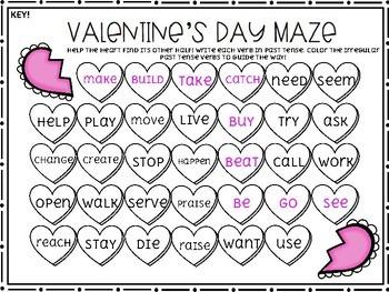 Valentine's Day: Irregular Nouns & Verbs Maze