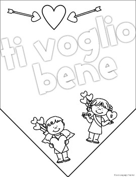 Valentine's Day Italian Coloring Banners
