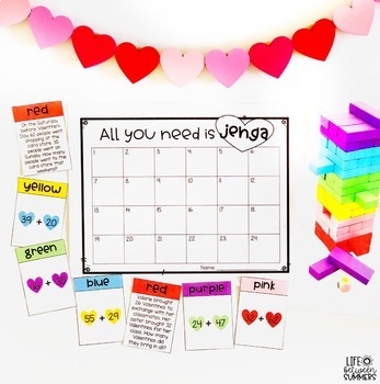 Math Jenga Game for 2 Digit Addition with Valentine's Day Theme