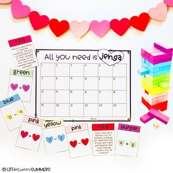 Math Jenga Games Bundle for Valentine's Day