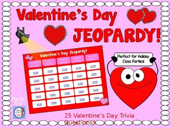 Valentine's Day Jeopardy Game for Intermediate Grades