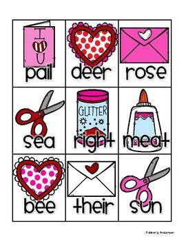 """Valentine's Day """"Kiddos Making Valentines"""" Homophones Match"""