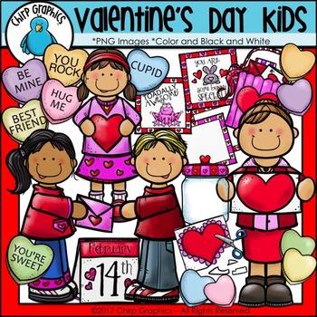 Valentine's Day Kids Clip Art Set - Chirp Graphics
