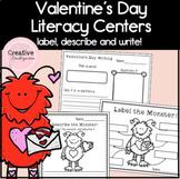 Valentine's Day Kindergarten Literacy Worksheets, Centers and Activities