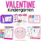 Valentine's Day Kindergarten Hands-On Math & Literacy Centers Work Tub Worksheet