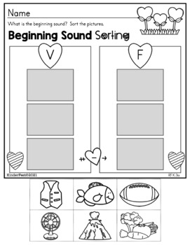 Valentine's Day Kindergarten Math and ELA Practice - FREEBIE!