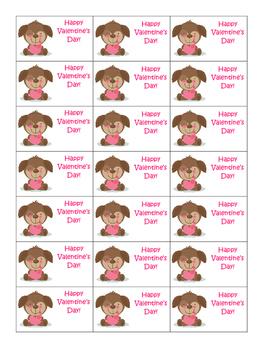 Valentine's Day Labels Puppies