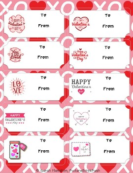 Valentine's Day Labels/Tags Fillable PDF with To and From fields