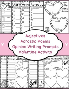 Valentine's Day Language Arts Review Bundle - 2nd Grade ((32 pages))