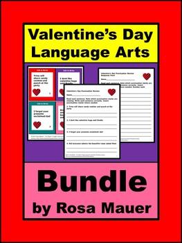 Valentine's Day Language Arts Task Cards and Worksheets Bundle