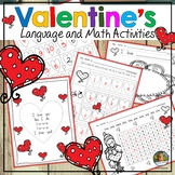No Prep Valentines Day Language and Math Worksheets