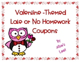 Valentine's Day Late or No Homework Coupons