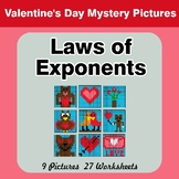 Valentine's Day: Laws of Exponents - Math Mystery Pictures