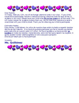 Valentine's Day Letter (Editable) Kindergarten Binlingual-English/Spanish