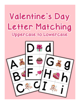 Valentine's Day Letter Matching Cards - Uppercase to Lowercase - Set of 26