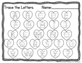 Valentine's Day Letter and Number Tracing Worksheets