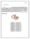 Valentine's Day Letter to Parent plus Class List