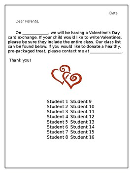 Valentine S Day Letter To Parent Plus Class List By Fanciful In First