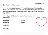 Valentine's Day Letter to Parents (Elementary School)