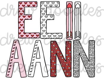 Valentine's Day Letters Digital Clip Art Set- Color and Black Line COMBO