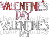 Valentine's Day Letters Digital Clip Art Set- Color and Bl