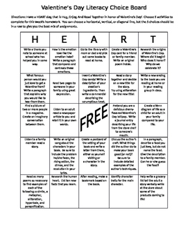 Valentine's Day Literacy  Choice Board