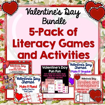 Valentine's Day Literacy Games Bundle, Activities, Crafts, Spelling, Nouns