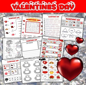 Valentine's Day Literacy and Math Activity Set (75 pages)
