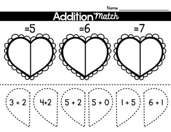 Valentine's Day Literacy and Math Print and Go! for Kindergarten