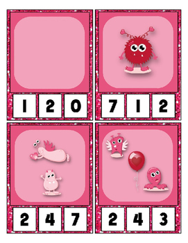 Valentine's Day Little Monster Math center Clip Cards counting to 20 Preschool