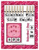 Valentine's Day Little Monster Math center Clip Cards coun