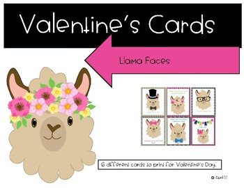 Valentine's Day Llama Faces Cards