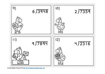 Valentine's Day Llamas Long Division Task Cards