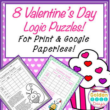 Valentine's Day Logic Puzzles for Print & Google Paperless! Great for Enrichment