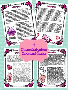 Valentine's Day: Love Bug Characterization Task Cards, Writing Task, and More!