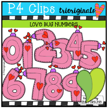 Valentine's Day Love Bug Numbers {P4 Clips Trioriginals Digital Clip Art}
