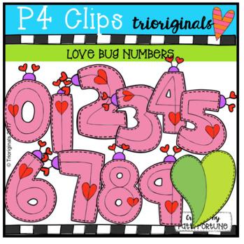 Valentine's Day Love Bug Numbers {P4 Clips Trioriginals Digital Clip Art}