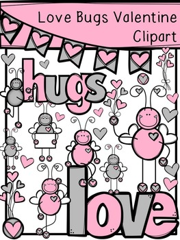 Valentine's Day Love Bugs Clipart - Gray and Pink Add-on Pack