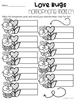 Valentine's Day: Love Bugs Themed Homophone Center Match